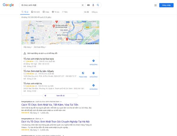 """Kết quả tìm kiếm Google với từ """"tổ chức sinh nhật"""""""