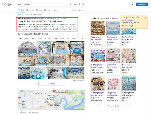 Google hiển thị kết quả có trả phí trước tiên